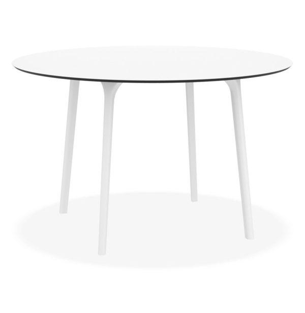 Table de terrasse ronde ´LAGOON´ blanche intérieur / extérieur - Ø 120 cm