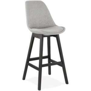 Tabouret de bar design ´TERESA´ en tissu gris et pied en bois noir