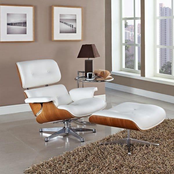 replique fauteuil design bois cuir blanc