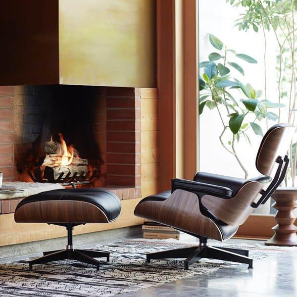replique fauteuil design bois cuir