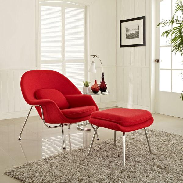 replique fauteuil design rouge pieds chrome