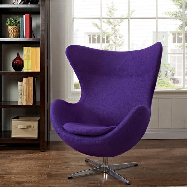 replique fauteuil design tissu violet