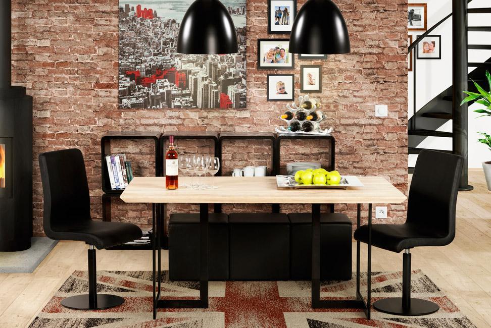 table en bois et metal desgign
