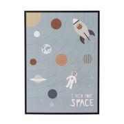 Affiche encadrée I need More Space / L 52 x H 72 cm - Cadre pin - Bloomingville multicolore,noir en bois