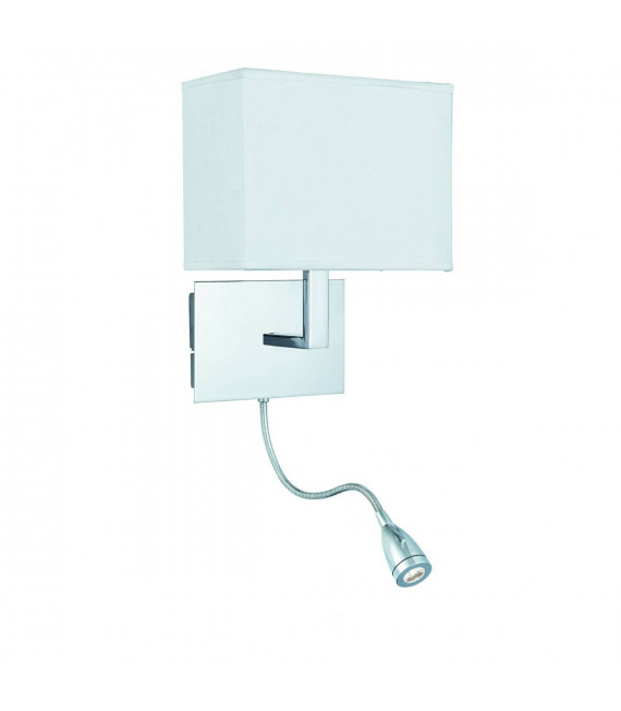 Applique Adjustable Wall 26 cm avec liseuse, en chrome avec abat-jour blanc
