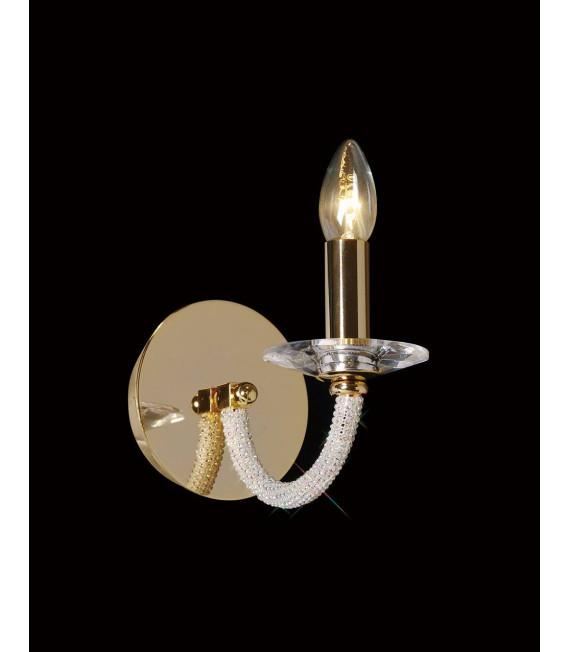 Applique murale Elena avec interrupteur 1 Ampoule doré/cristal