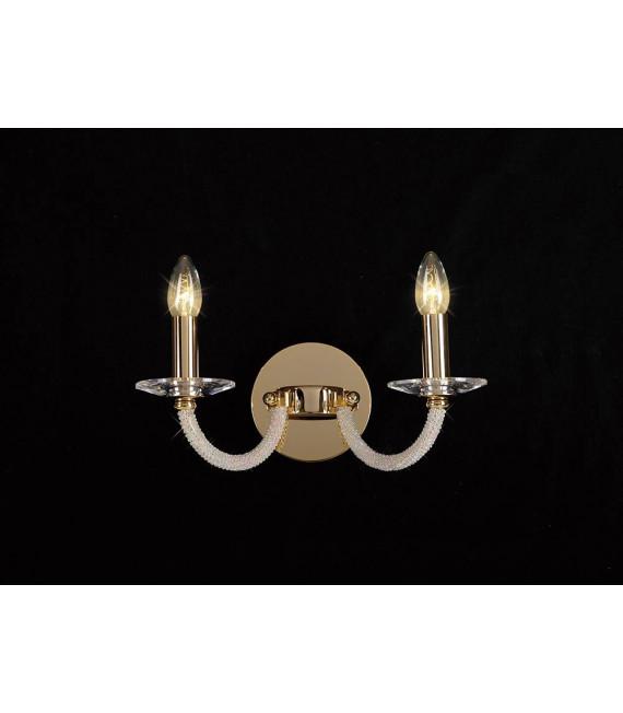 Applique murale Elena avec interrupteur 2 Ampoules doré/cristal