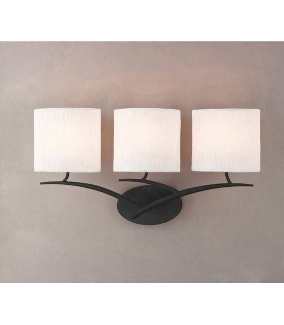 Applique murale Eve avec interrupteur 3 Ampoules E27, anthracite avec Abat jours blanc ovale