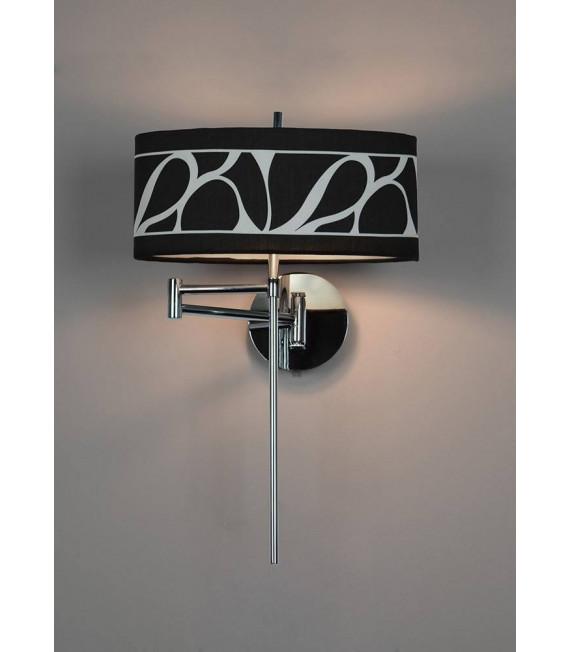 Applique murale Manhattan 1 Ampoule E14 Swing Arm, chrome poli/verre dépoli avec Abat jour noir