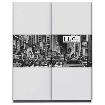 Armoire 2 portes NY coloris blanc/design New York