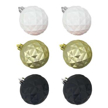 Assortiment 6 boules ORNA coloris noir, or et blanc