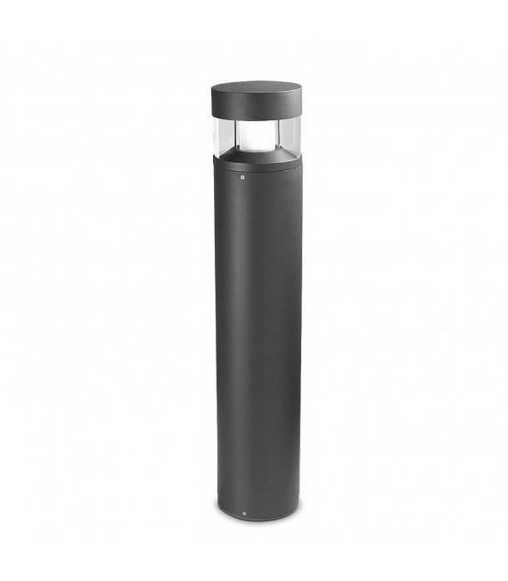 Borne Newton, 60cm, aluminium, verre et polycarbonate, gris urbain