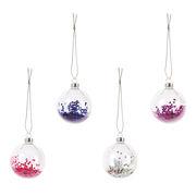 Boule de Noël Glitter / Set de 4 - & klevering blanc,bleu,rose,violet en verre