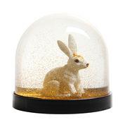 Boule à neige / Lapin - & klevering blanc,or en matière plastique