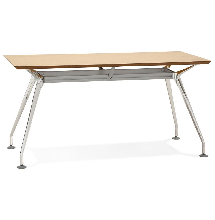 Bureau droit design 'STATION' avec plateau en bois finition naturelle - 150x70 cm