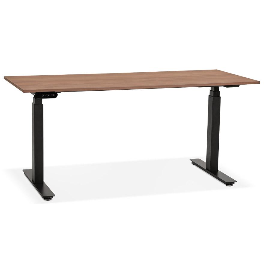 Bureau ergonomique électrique 'TRONIK' noir avec plateau en bois finition Noyer - 160x80 cm