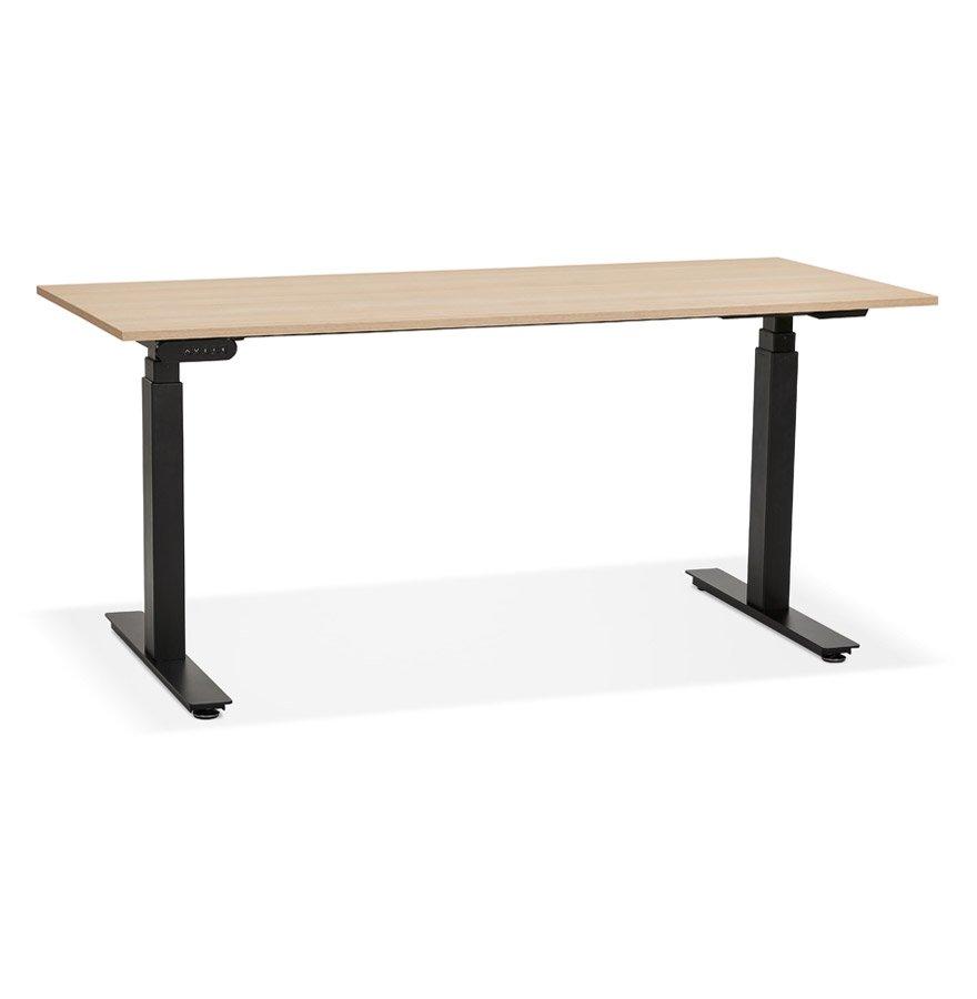 Bureau ergonomique électrique 'TRONIK' noir avec plateau en bois finition naturelle - 160x80 cm