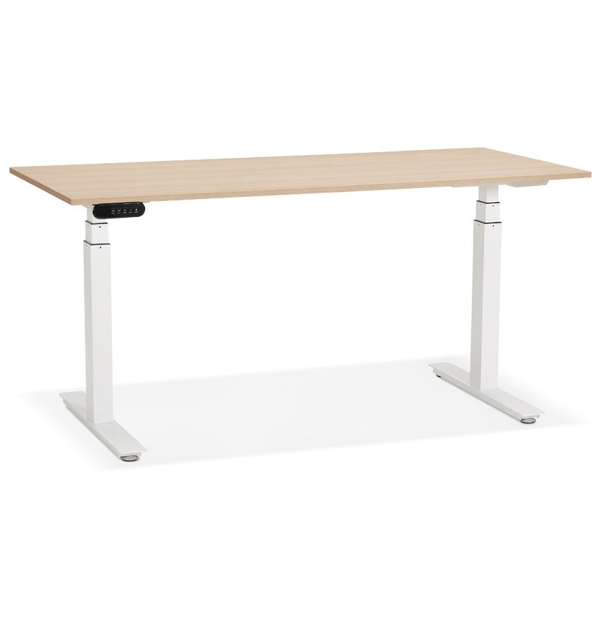 Bureau réglable en hauteur électrique 'TRONIK' blanc avec plateau en bois finition naturelle - 160x80 cm