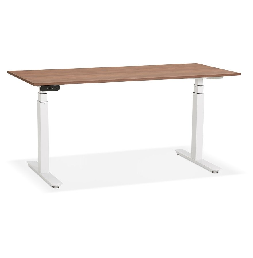 Bureau réglable en hauteur électrique 'TRONIK' blanc avec plateau en bois finition Noyer - 160x80 cm