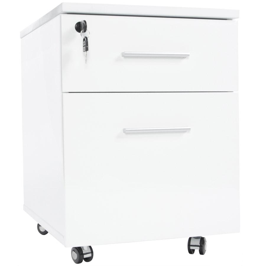 Caisson de bureau 'KOLA' blanc à tiroirs sur roulettes