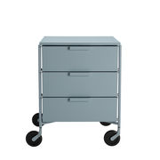 Caisson à roulettes Mobil / 3 tiroirs - Version mate - Kartell bleu clair mat en matière plastique
