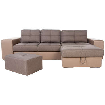 Canapé d'angle convertible réversible 4 places SERATA coloris brun/ brun