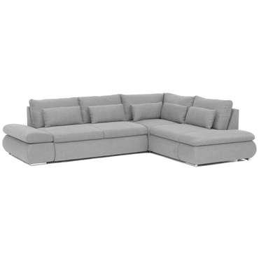 Canapé d'angle droit convertible 4 places en tissu ALINA 2 coloris gris clair