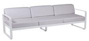 Canapé droit Bellevie 3 places / L 235 cm - Tissu blanc grisé - Fermob blanc grisé,blanc coton en métal
