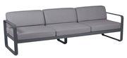 Canapé droit Bellevie 3 places / L 235 cm - Tissu gris flanelle - Fermob carbone,gris flanelle en métal