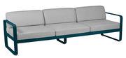 Canapé droit Bellevie 3 places / L 235 cm - Tissu gris flanelle - Fermob gris flanelle,bleu acapulco en métal