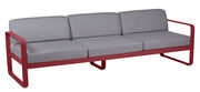 Canapé droit Bellevie 3 places / L 235 cm - Tissu gris flanelle - Fermob piment,gris flanelle en métal
