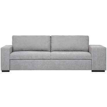 Canapé droit convertible 3 places en tissu ZACK coloris gris clair
