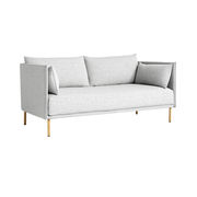 Canapé droit Silhouette Duo / 2 places - L 171 cm - 2 tissus différents - Hay gris,chêne naturel en tissu