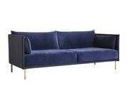Canapé droit Silhouette Duo / 3 places - L 217 - 2 tissus différents - Hay bleu,chêne naturel en tissu