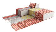 Canapé modulable n° 2 Bandas / 1 tapis + 2 poufs Large + 1 méridienne - Gan jaune,orange,gris en tissu