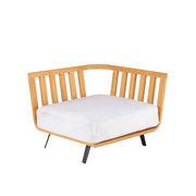 Canapé modulable Welcome / Module accoudoir Droite L 90 cm / Teck - Unopiu teck,blanc écru en tissu