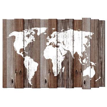 Carte du monde imprimée sur bois MAPPY coloris blanc