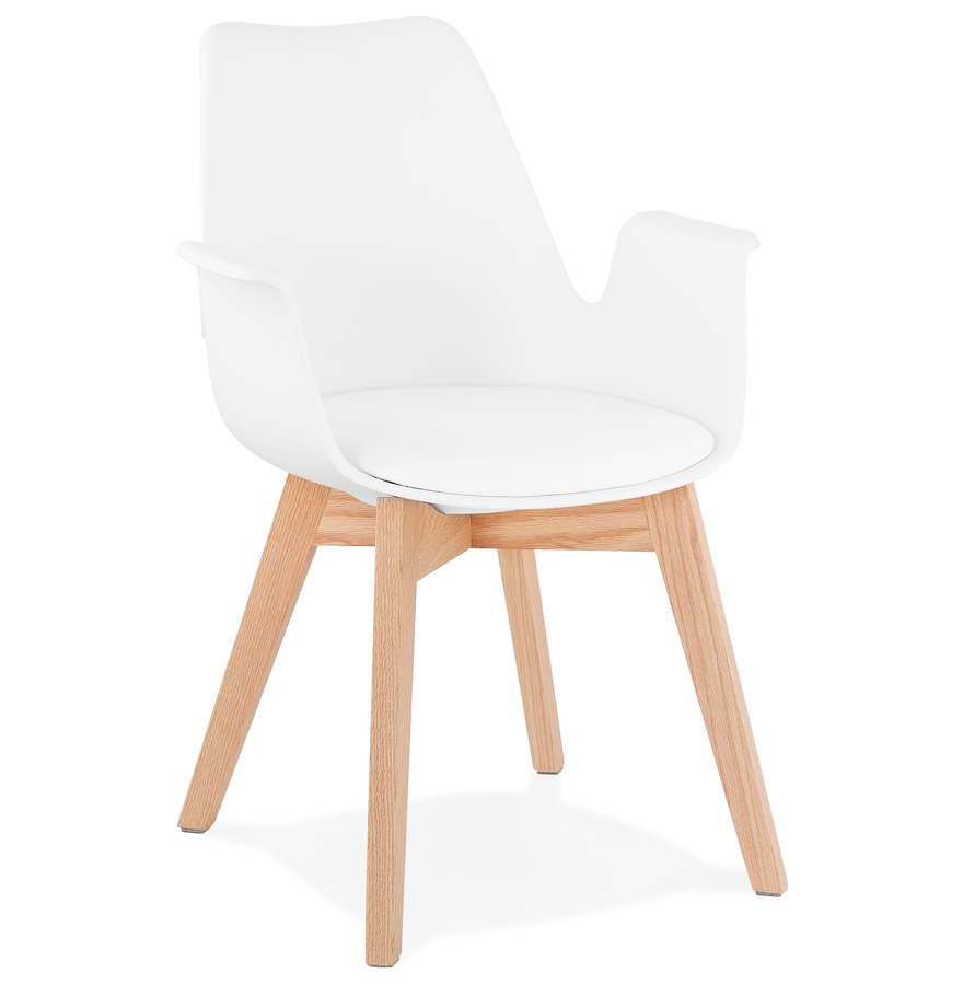 Chaise avec accoudoirs 'MISTRAL' blanche style scandinave