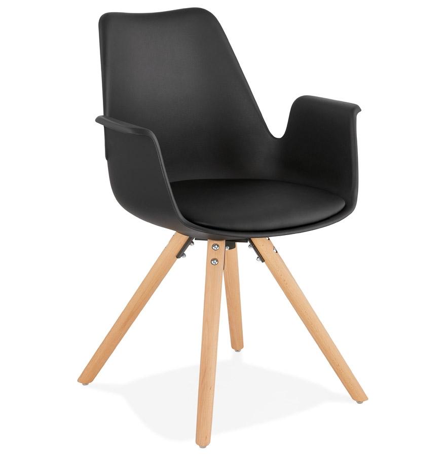 Chaise avec accoudoirs 'ZALIK' noire style scandinave