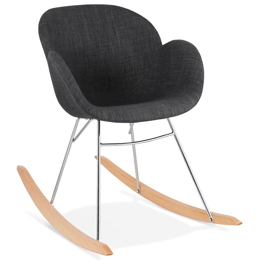 Chaise à bascule design 'ROCKY' grise foncé en tissu