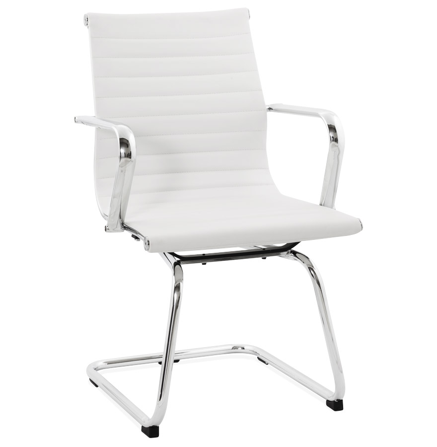 Chaise de bureau design 'GIGA' en matière synthétique blanche