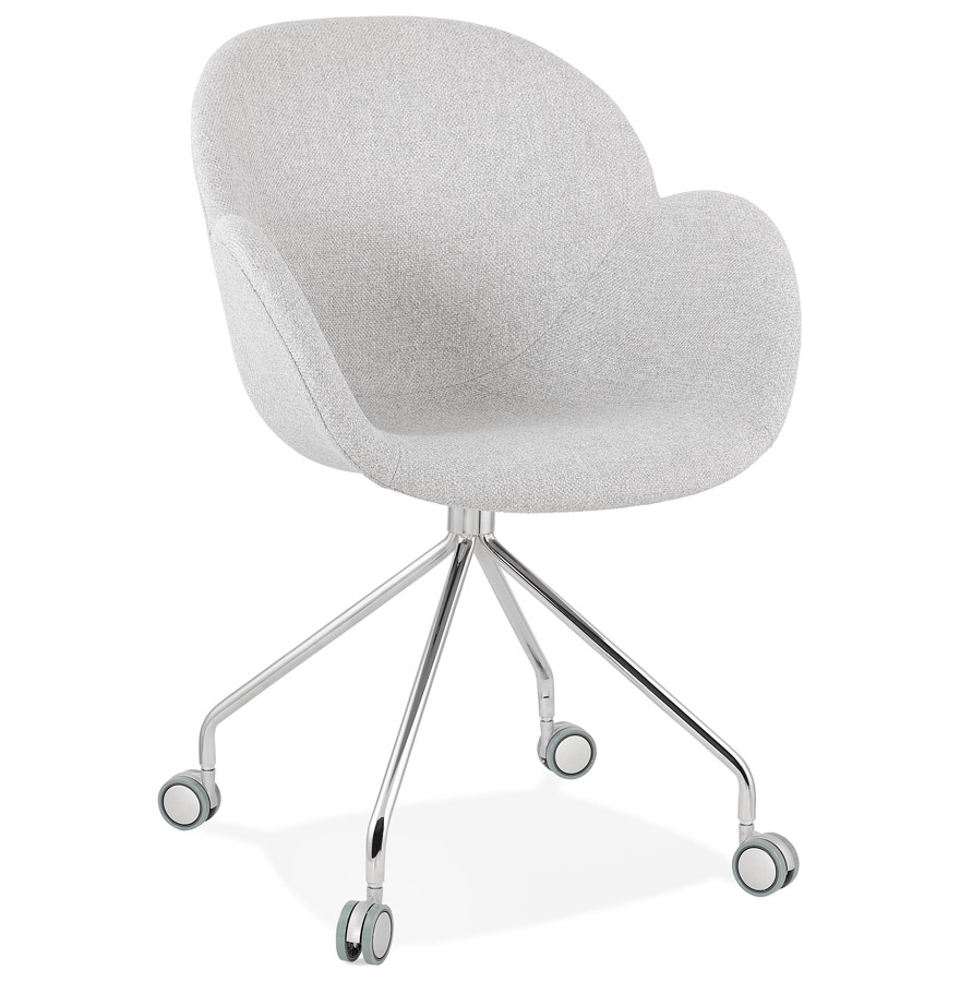 Chaise de bureau 'KEV' en tissu gris clair confortable sur roulettes