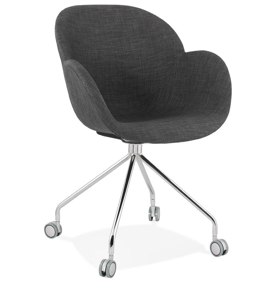 Chaise de bureau 'KEV' en tissu gris foncé confortable sur roulettes
