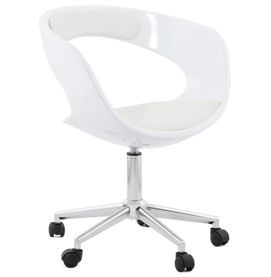 Chaise de bureau 'STRATO' blanche sur roulettes