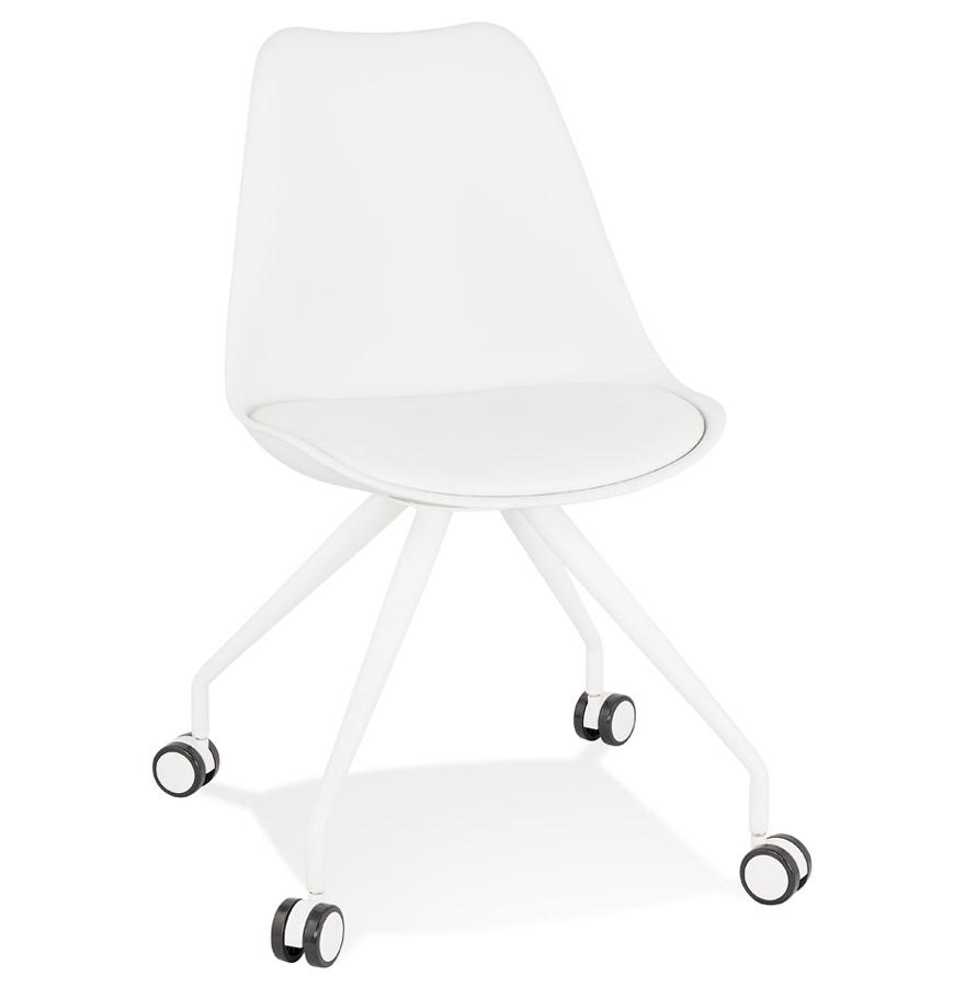 Chaise de bureau sur roulettes 'SKIN' blanche avec structure en métal blanc