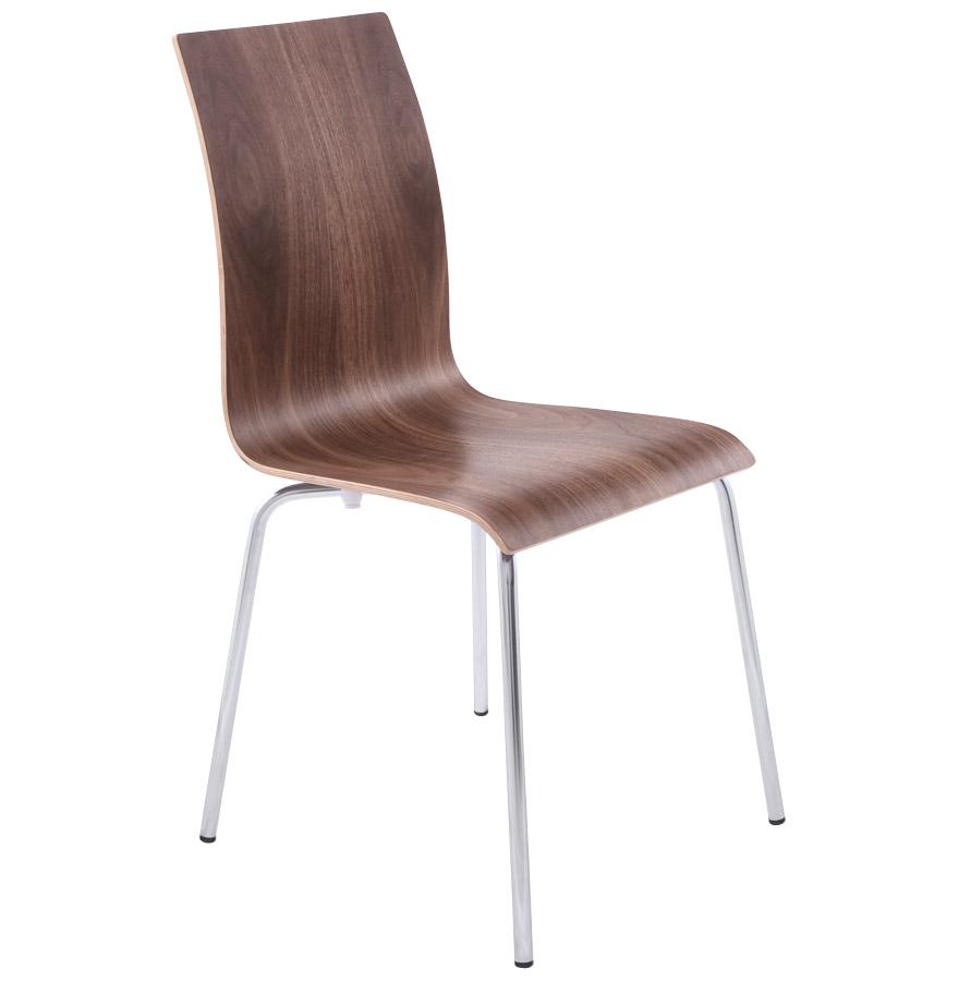Chaise de salle à manger design 'ESPERA' en bois finition Noyer