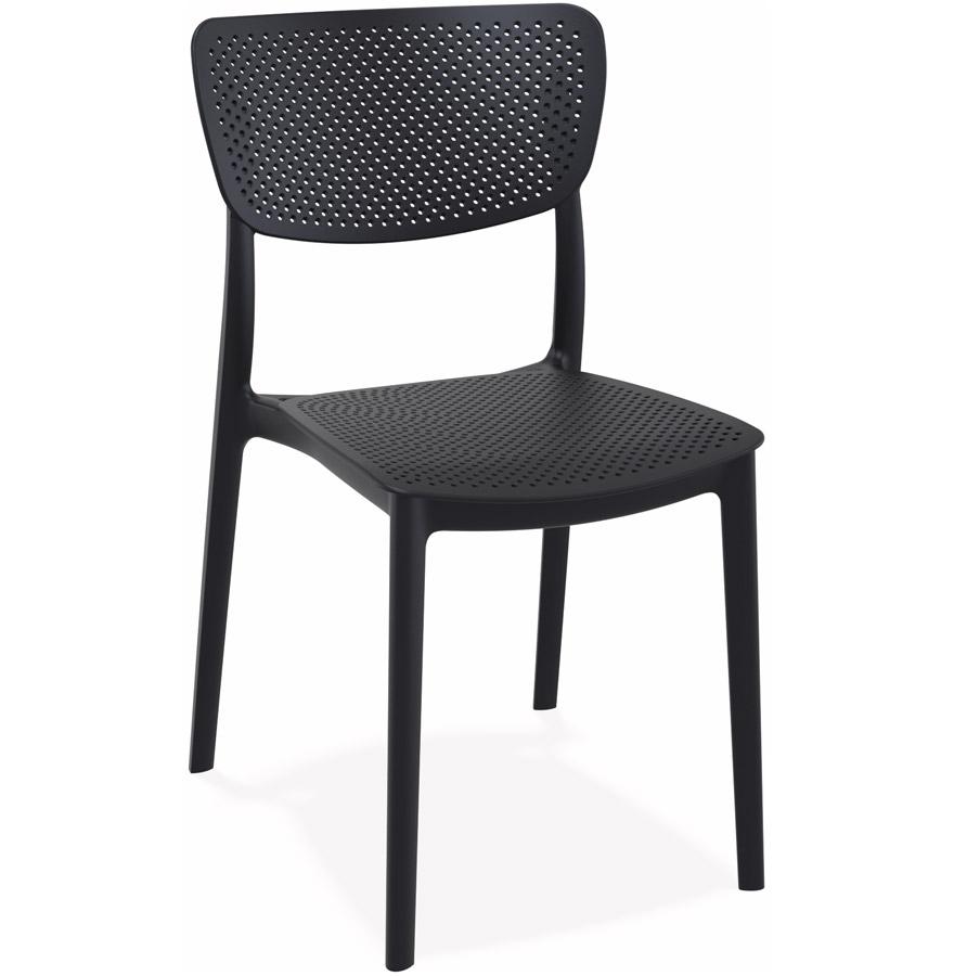 Chaise de terrasse perforée 'PALMA' en matière plastique noire