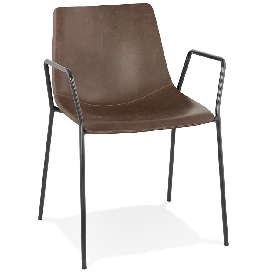 Chaise design avec accoudoirs 'BILL' brune