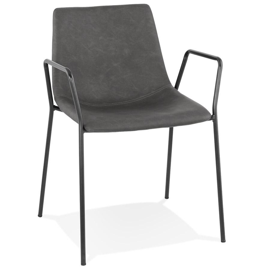 Chaise design avec accoudoirs 'BILL' grise