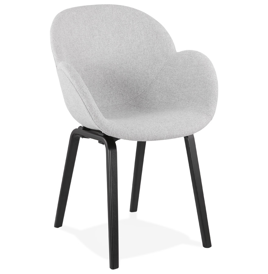 Chaise design avec accoudoirs 'SAMY' en tissu gris clair et pieds en bois noir